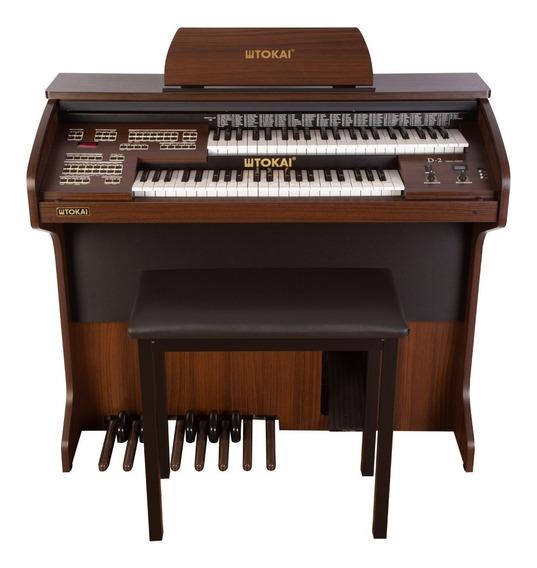 Órgão Tokai D2 Dual Voice Marrom Com Tampa, Usb E Banqueta