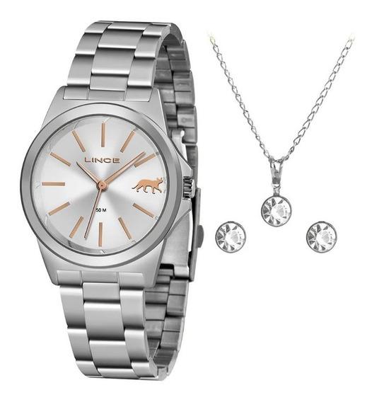 Relógio Lince Feminino Clássico Com Kit Colar Brinco Prata
