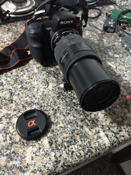 Câmera Sony Alpha 200 Com Lente,bateria,carregador E Case