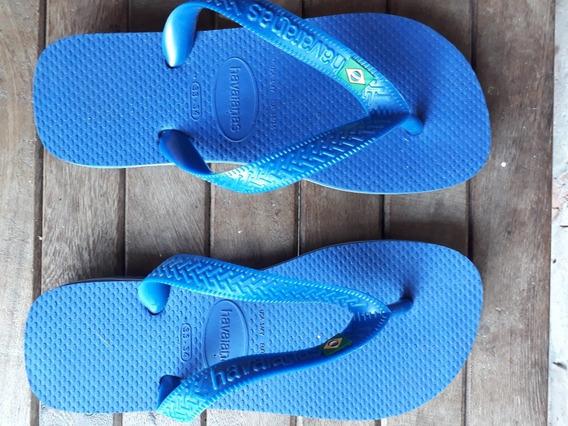 Ojotas Havaianas Originales Niño Talle 33/34 Azules Nuevas