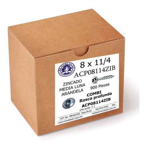Tornillo Tipo Kreg Zinc 8 X 1 1/4 Empaque 900 Piezas