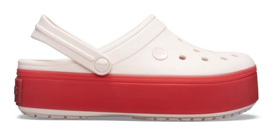 Sandalia Crocs Dama Crocband Platform Clog Rosa/rojo