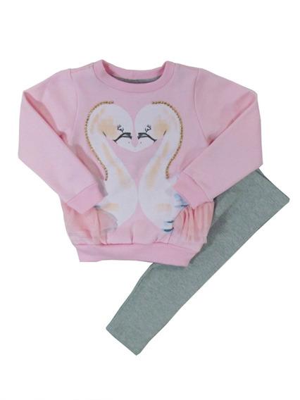 Conjunto Infantil Bebê Menina Cisnes Rosa Dente D