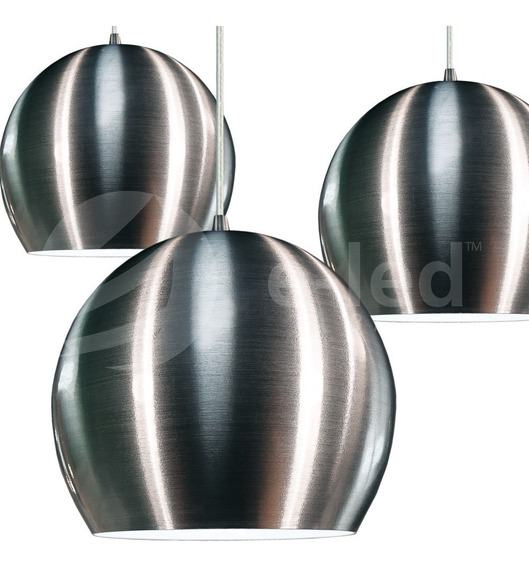 4 Pendentes Meia Bola De Aluminio Escovado C/ Led De 25cm