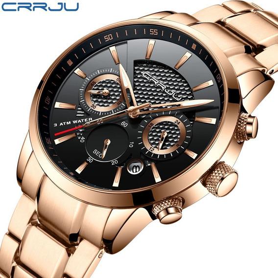 Reloj Lujo Elegante Crrju Hombre Acero Moda 2020