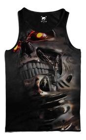 Regata Caveira Robô Skull Robot Machine Man Iron Homem