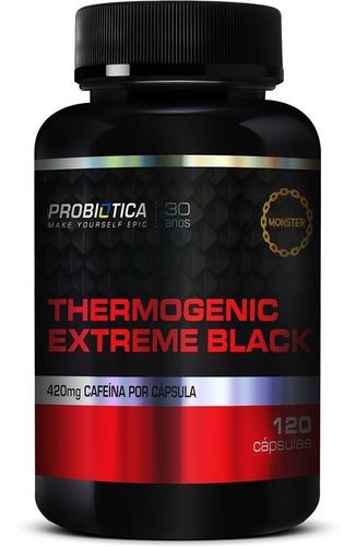 Imagem 1 de 4 de Thermogenic Extreme Black 420mg Cafeina 120caps - Probiotica
