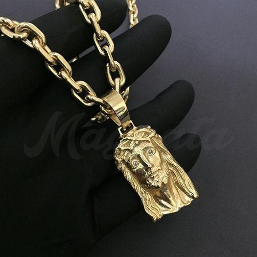 Cordão Cartier Cadeado 8mm + Face Cristo Banhado A Ouro 18k