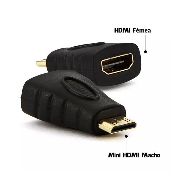 Adaptador Hdmi Fêmea X Mini Hdmi Macho 3,5cm Kit 2 Peças.