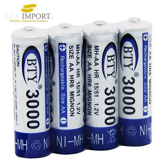 Pilas Recargables Doble A Bty 3000 Mah Baterias Aa X Unidad