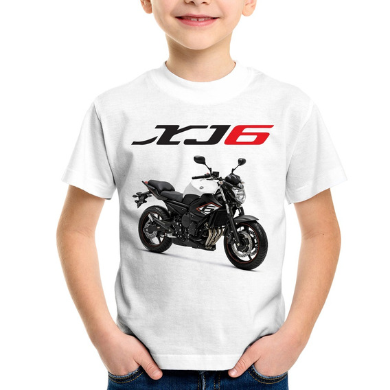 Camiseta Infantil Moto Yamaha Xj6 Sp Branca