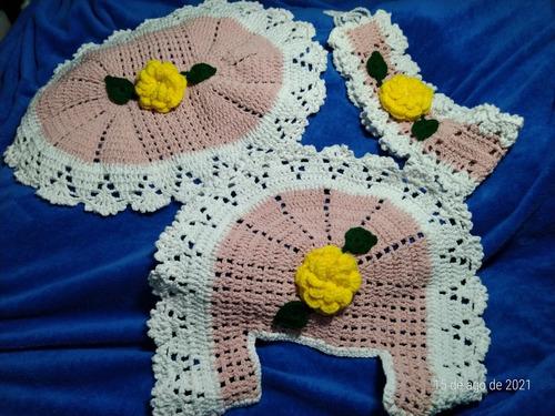 Imagem 1 de 3 de Conjunto Crochê Para Banheiro