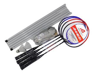 Set Badminton Annezi 4 Raquetas Acero + 2 Plumas + Red Bolso
