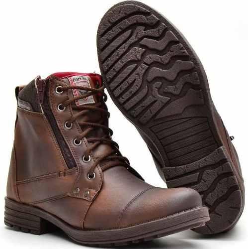 Bota Masculina Sapato Coturno Casual Super Leve Ziper.