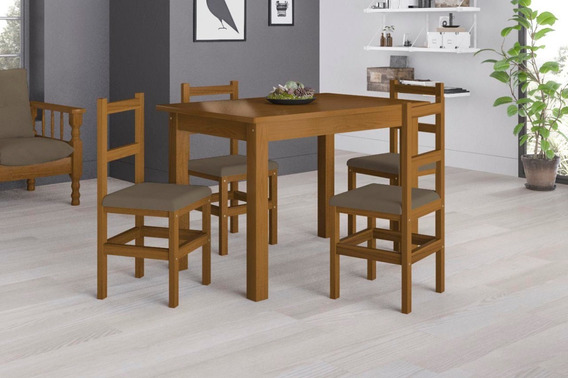 Conjunto De Mesa (80 X 120 Cm) E 4 Cadeiras Belini