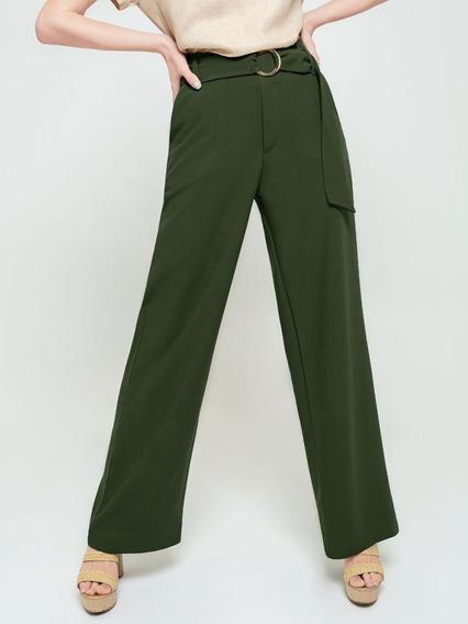 Calça Pantalona Verde Militar Olivia