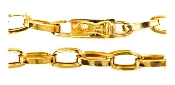 Pulseira Masculina Ouro 18k Laço Quadrado 10g Oca 0010
