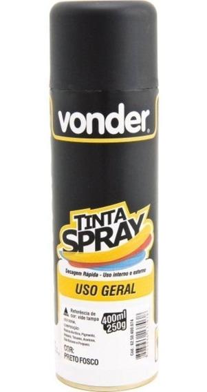 Tinta Spray Para Uso Geral Preto Fosco 400 Ml - Vonder