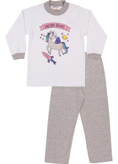 Pijama Bebê Menina Meia Malha Longo Inverno Unicórnio