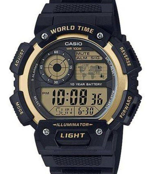Relógio Casio Masculino Digital Word Time Iluminator Ae-1400