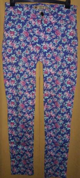Pantalón Super Elastizado Floreado Corte Jean Mujer Talle 40