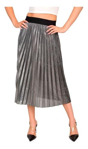 Imagen 1 de 5 de Falda Moda Estilo Drapeada Mujer 9511