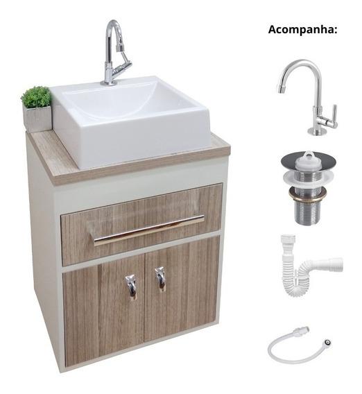 Kit Armario Banheiro Pequeno Mira+ Cuba+ Torneira Claz+ Flex