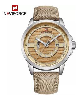 Reloj Hombre Naviforce Nf9151 Calidad Elegante Madera Cuero