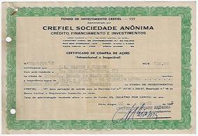 Brasil 1968 Título De Ação Da Crefiel Sociedade Anônima
