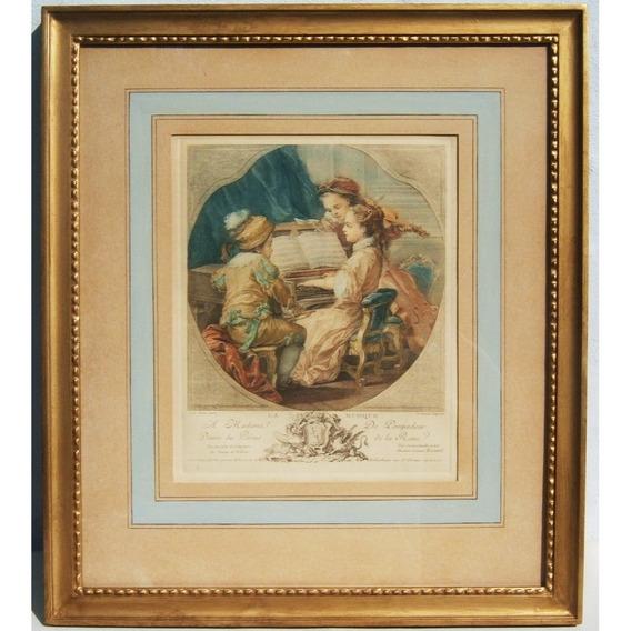 Hist.* Importante Grabado Francés La Musique Año 1756 -envío