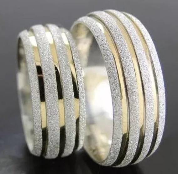 Par Alianças Prata 950 10mm E 3 Filetes De Ouro 18k