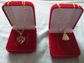 Cordão Banhado Á Ouro+pingente+caixinha De Luxo / 10 Cordões