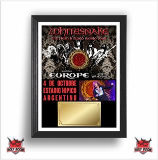 Cuadro Whitesnake + Europe Para Exhibir Entrada Argentina