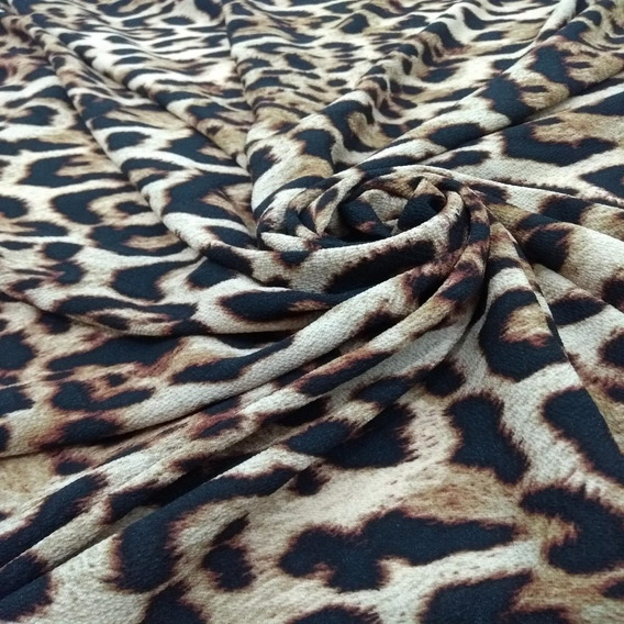 Tecido Crepe Bubble Estampado Animal Print 1,50x1,00 Metro