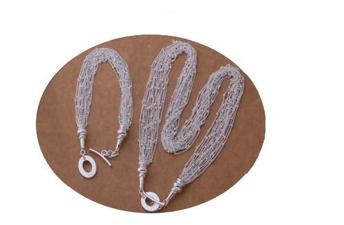 Imagen 1 de 2 de Set Para Mujer Elegante Collar Y Pulsera De Plata Hermosos