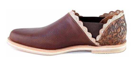 Chatita Cuero Mujer Briganti Zapato Abotinado Taco Mccha3001