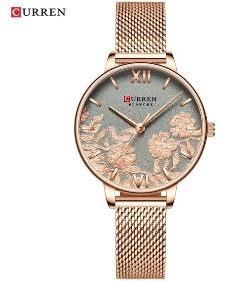 Relógio Feminino Curren Original Aço Inox Slim Luxo 2019