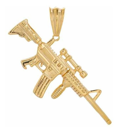 Dije M4 Ak 47 Cuerno De Chivo Oro Laminado 24k