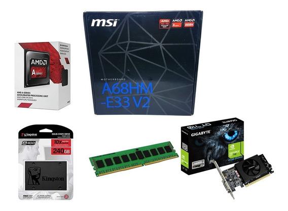 Kit Gamer Placa Msi + A6 7480 + 8gb + Ssd 240gb + Gt 710 2gb