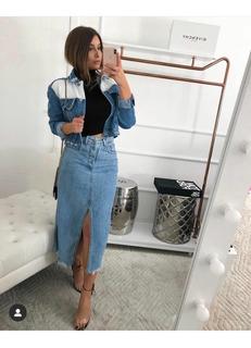 Saia Jeans Midi Moda Luxo Tendência