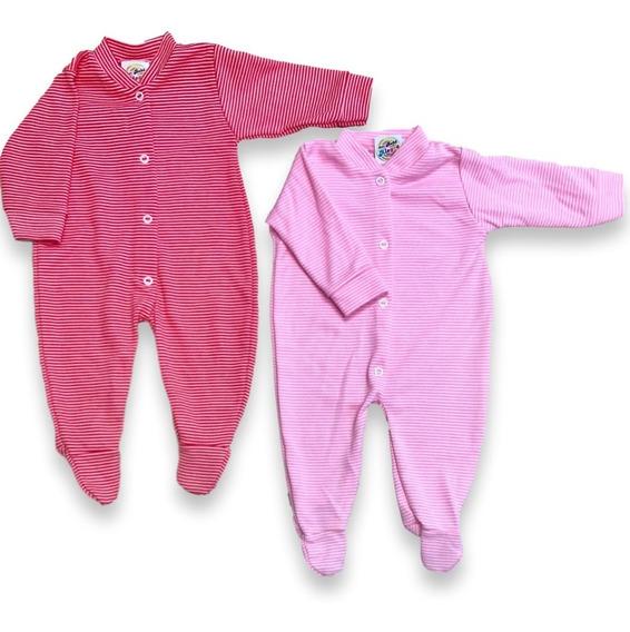 Macacão Bebê Menina Listrado Kit Com 2 Pçs, Tecido Grosso