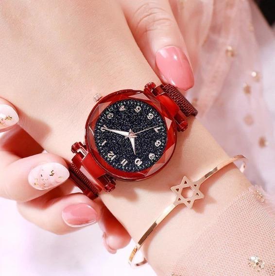 Relógio Feminino Rose Universo Strass Pulseira Magnética