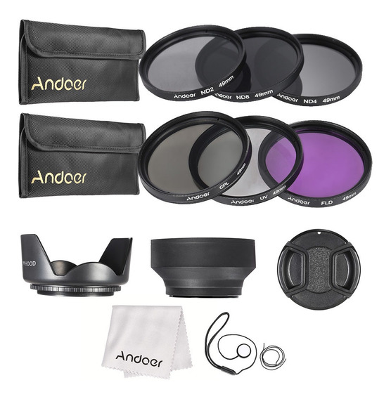 Andoer 49mm Kit Filtro De Lente Uv+cpl+fld+nd (nd2 Nd4 Nd8)