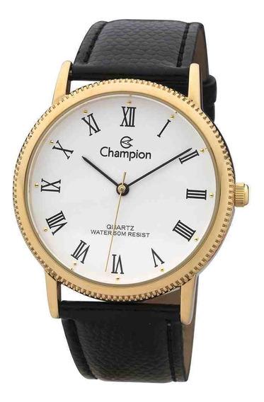 Relógio Feminino Champion Analóg Romano Couro Preto Ch22180m