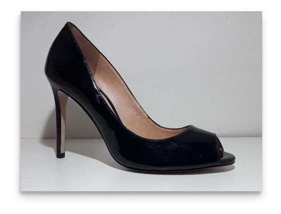 Sapato Peep Toe Jorge Alex Verniz Preto