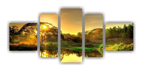 Imagem 1 de 5 de Quadro Decorativo Paisagens Natureza Árvore Sol 5 Pçs 002