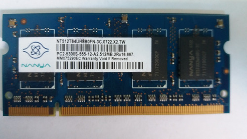 Memória 512mb 2rx16 Pc2-5300s-555-12-a2 667 Nanya