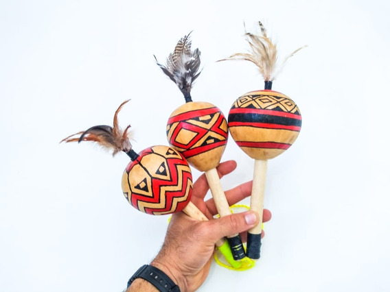 Maraca Cabaça Indígena Unidade Xamânica Rústico Ritual Xamã