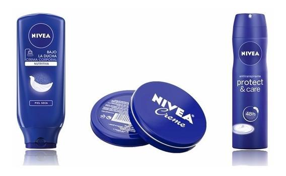 Crema Nivea Bajo La Ducha + Deo Spray + Creme En Lata X 60ml