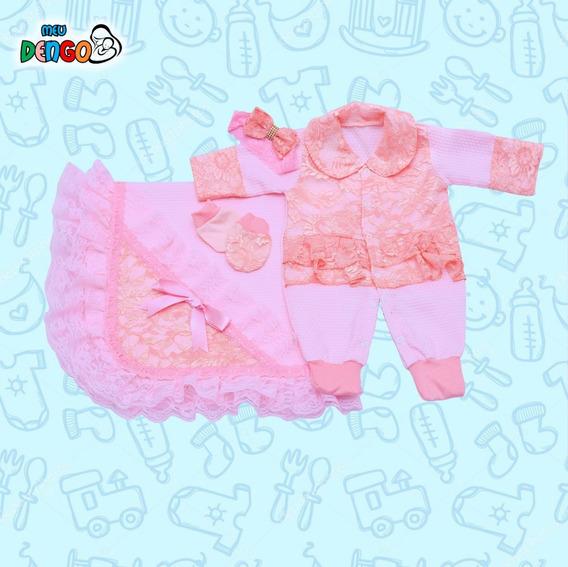 Saída Maternidade Piquet E Renda 4pç Luxo Feminina Rosa